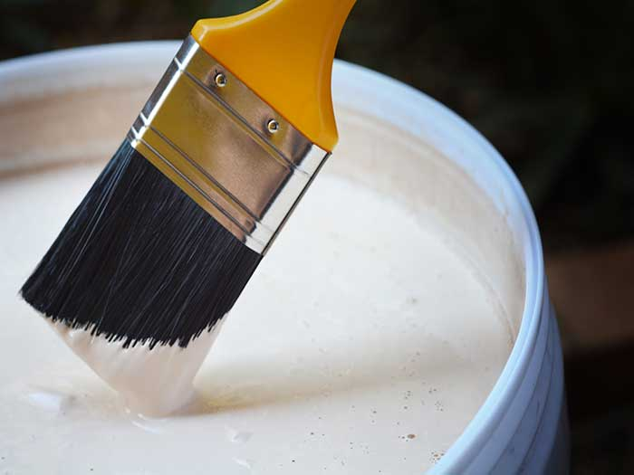 dipping paint brush into white paint