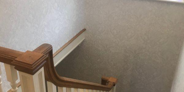 wallpaper around the stairs