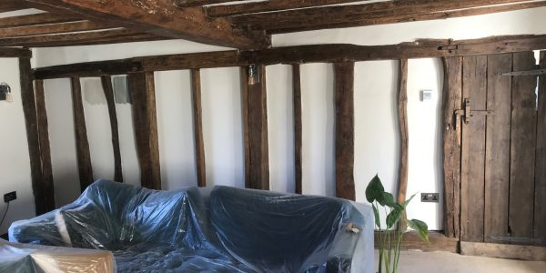 wooden beams on walls and ceiling