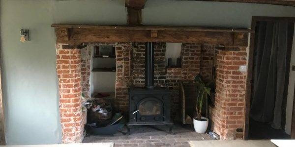 stove fire place with bricks