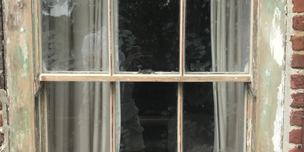 unpainted french window frame